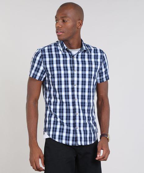 Camisa-Masculina-Slim-Estampada-Xadrez-Manga-Curta-Azul-Marinho-9436453-Azul_Marinho_1