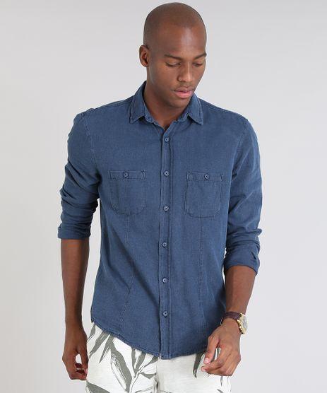 Camisa-Masculina-Comfort-com-Bolsos-Azul-Escuro-9466516-Azul_Escuro_1