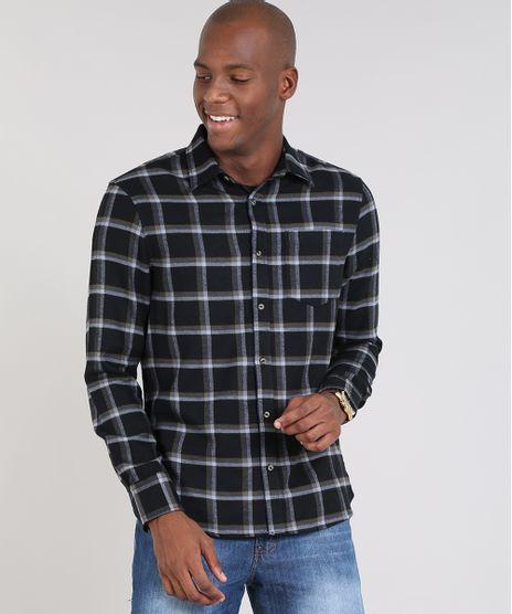 Camisa-Masculina-Comfort-Estampada-Xadrez-em-Flanela-Manga-Longa-Preta-9426307-Preto_1