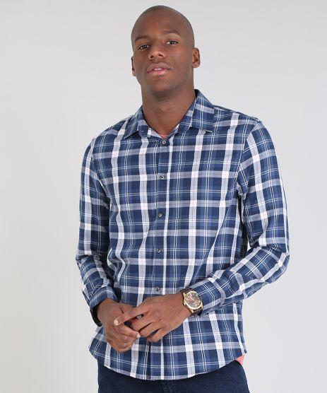 Camisa-Masculina-Comfort-Estampada-Xadrez-Manga-Longa-Azul-Marinho-9436391-Azul_Marinho_1