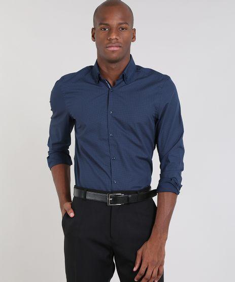 Camisa-Masculina-Comfort-Estampada-Mini-Print-Manga-Longa-Azul-Marinho-9430714-Azul_Marinho_1