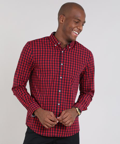 Camisa-Masculina-Comfort-Estampada-Xadrez-Manga-Longa-Vermelha-9436410-Vermelho_1