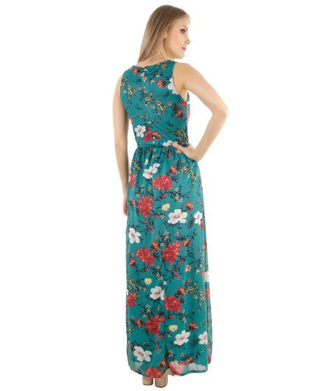 Black Friday Vestido Longo Estampado Floral Verde Cea