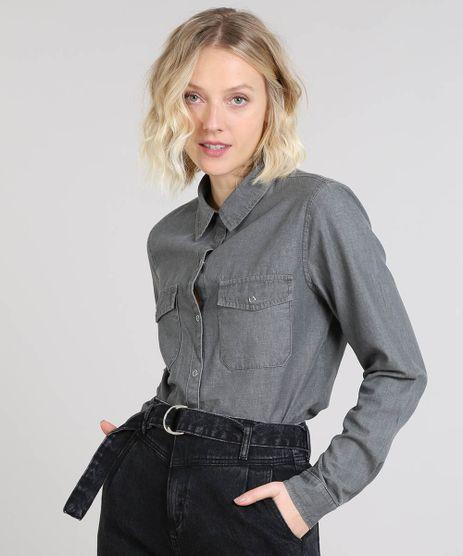 03c71fefbc Camisa-Jeans-Feminina-Mindset-com-Bolsos-Manga-Longa-