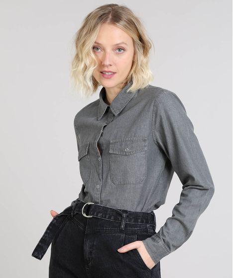 861771a6fc57d Camisa Jeans Feminina Mindset com Bolsos Manga Longa Preta - cea