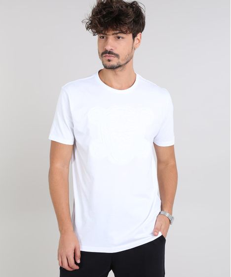 598234a46d Camiseta Masculina com Caveira Manga Curta Gola Careca Branca - cea