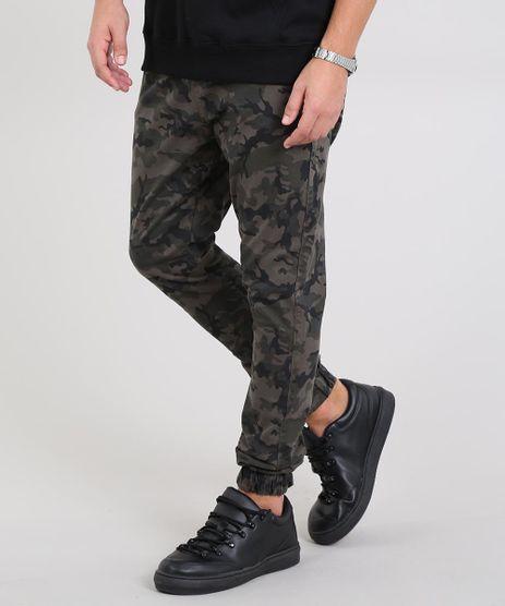 Calca-de-Sarja-Masculina-Jogger-Skinny-Estampada-Camuflagem-Verde-Militar-9583523-Verde_Militar_1