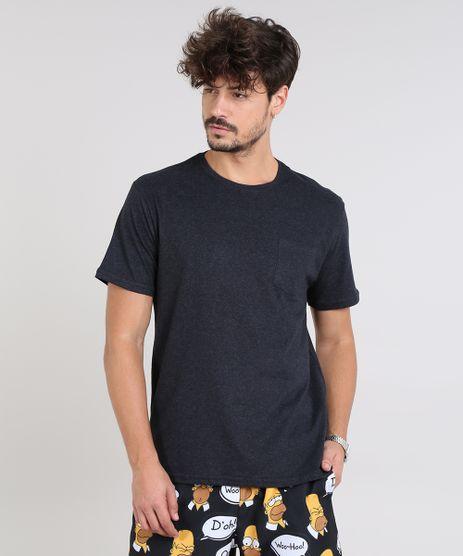Camiseta-Masculina-com-Bolso-Manga-Curta-Gola-Careca-Cinza-Mescla-Escuro-9540850-Cinza_Mescla_Escuro_1