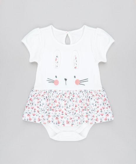 Body-Saia-Infantil-Coelha-com-Estampa-Floral-Manga-Curta-Decote-Redondo-Off-White-9450984-Off_White_1