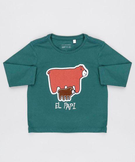 Camiseta-Infantil-Ursinhos--El-Papi--Manga-Longa-Gola-Redonda-Verde-Militar-9530778-Verde_Militar_1