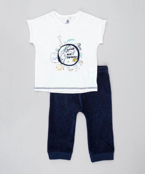 Conjunto-Infantil-de-Camiseta-com-Bichos-Manga-Curta-Branca---Calca-em-Veludo-Cotele-Azul-Marinho-9205096-Azul_Marinho_1