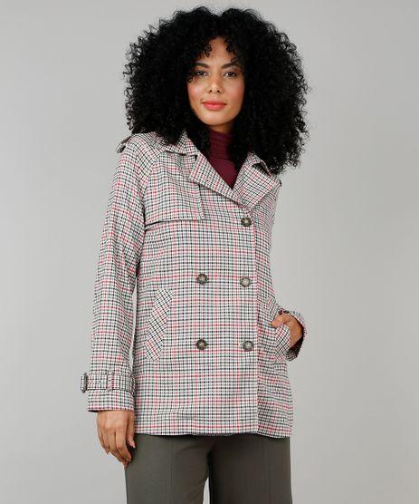 Casaco-Trench-Coat-Feminino-Estampado-Xadrez-com-Capuz-Removivel-Bege-9397751-Bege_1