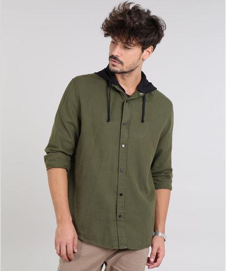 Camisa-Masculina-com-Capuz-Removivel-Manga-Longa-Verde-Militar-9383069-Verde_Militar_1