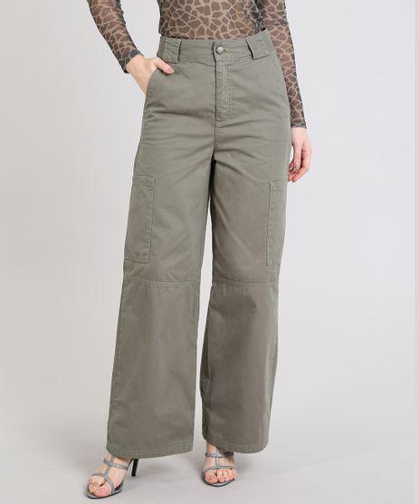 Calca-Feminina-Mindset-Pantalona-Cargo-em-Sarja-Verde-Militar-9606532-Verde_Militar_1