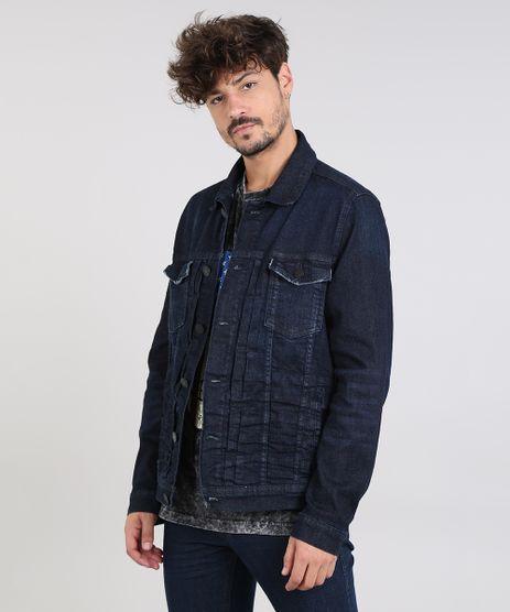 Jaqueta-Jeans-Masculina-Trucker-com-Bolsos-Azul-Escuro-9532784-Azul_Escuro_1