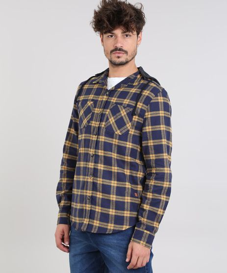 Camisa-Masculina-Estampada-Xadrez-em-Flanela-com-Capuz-Removivel-Manga-Longa-Azul-Marinho-9531925-Azul_Marinho_1