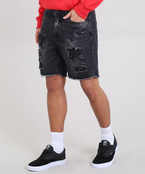 Bermuda-Jeans-Masculina-Slim-Destroyed-com-Bolsos-Preto-9562904-Preto_1