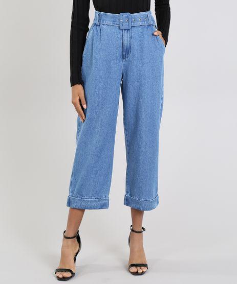 Calca-Jeans-Feminina-Mindset-Reta-Cropped-com-Cinto-Azul-Medio-9618497-Azul_Medio_1
