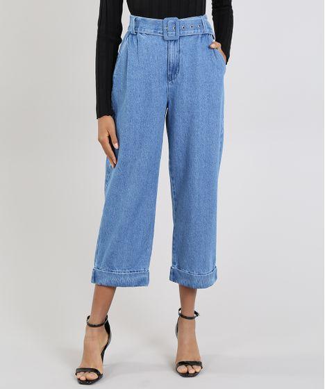 65bb9887c Calça Jeans Feminina Mindset Reta Cropped com Cinto Azul Médio - cea