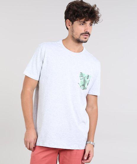 Camiseta-Masculina-com-Bolso-Estampado-de-Folhagem-Manga-Curta-Gola-Careca-Cinza-Mescla-Claro-9540854-Cinza_Mescla_Claro_1