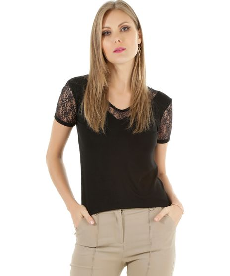 6e45e3eff3 Blusa com Renda Off White · consultar em lojas. c-a. Blusa-com-Renda -Preta-8507366-Preto 1