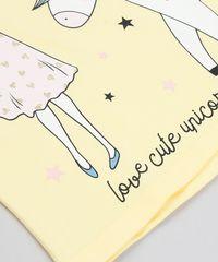 1032912a02 Blusa Infantil com Estampa de Unicórnio Manga Curta Decote Redondo ...