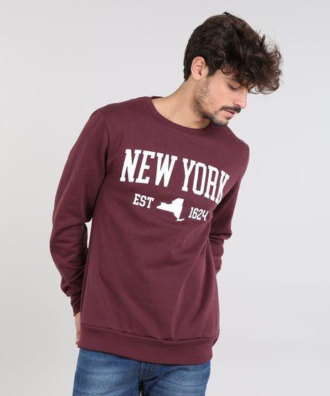 Blusao-Masculino--New-York--em-Moletom-Gola-Careca-Vinho-9486885-Vinho_1