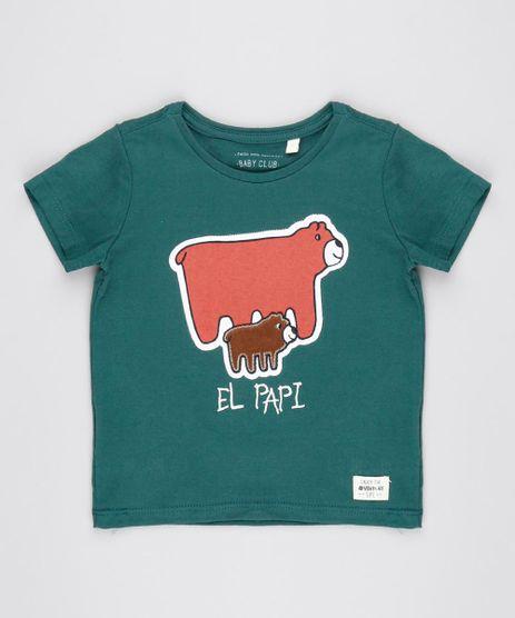 Camiseta-Infantil-Ursinhos--El-Papi--Manga-Curta-Gola-Redonda-Verde-Militar-9530777-Verde_Militar_1