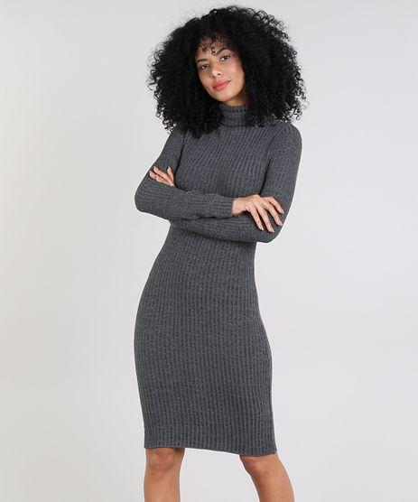 Vestido-Feminino-Curto-em-Trico-Manga-Longa-Gola-Alta-Cinza-Mescla-Escuro-9571023-Cinza_Mescla_Escuro_1