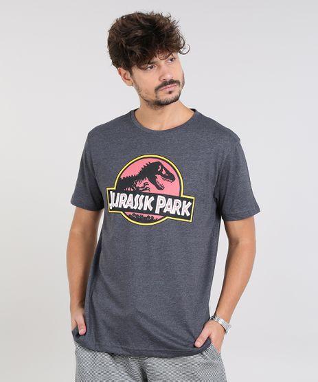 Camiseta-Masculina-Jurassic-Park-Manga-Curta-Gola-Careca-Cinza-Mescla-Escuro-9591407-Cinza_Mescla_Escuro_1