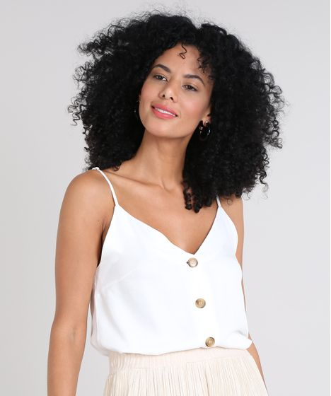 f60376c727 Regata Feminina com Botões Decote V Off White - cea
