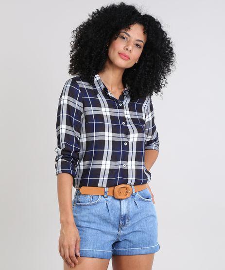 Camisa-Feminina-Estampada-Xadrez-Manga-Longa-Preta-9522982-Preto_1