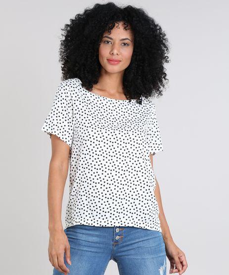 Blusa-Feminina-Estampada-de-Poa-Manga-Curta-Decote-Redondo-Off-White-9505976-Off_White_1