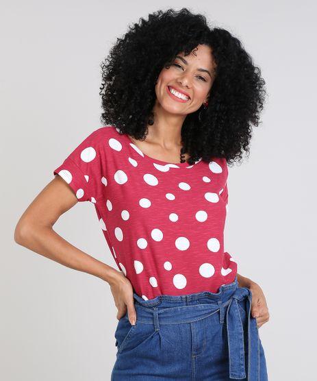 Blusa-Feminina-Estampada-de-Poa-Manga-Curta-Decote-Redondo-Rosa-Escuro-9561723-Rosa_Escuro_1