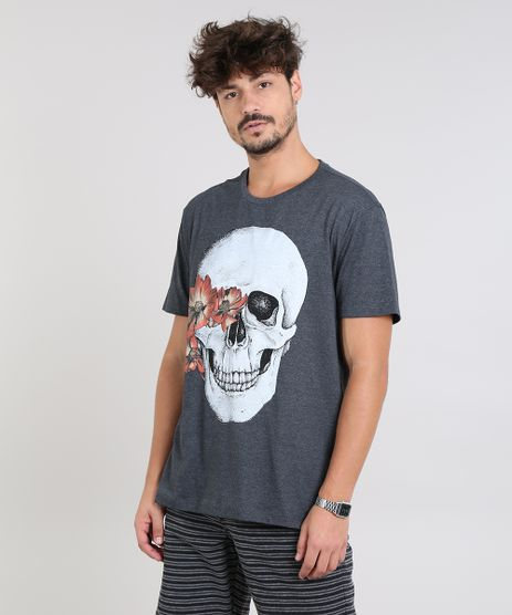 Camiseta-Masculina-com-Estampa-de-Caveira-Manga-Curta-Gola-Careca-Cinza-Mescla-Escuro-9591374-Cinza_Mescla_Escuro_1