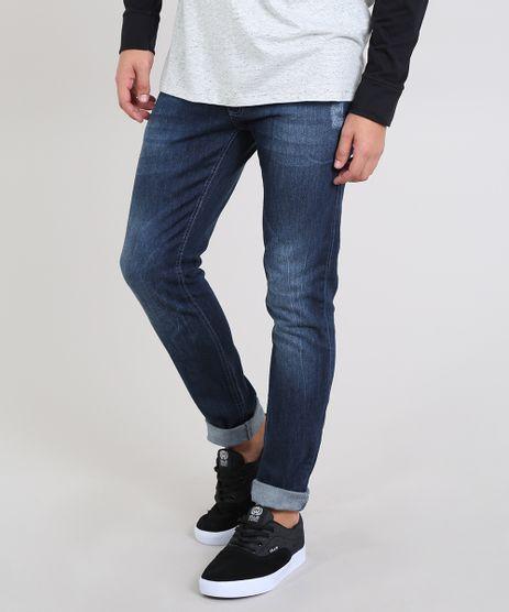 Calca-Jeans-Masculina-Slim-com-Puidos-Azul-Escuro-9532882-Azul_Escuro_1