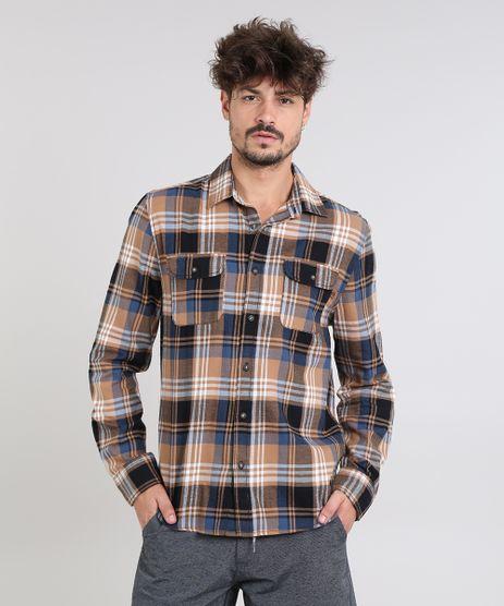 Camisa-Masculina-Estampada-Xadrez-com-Bolsos-em-Flanela-Manga-Longa-Caramelo-9383368-Caramelo_1