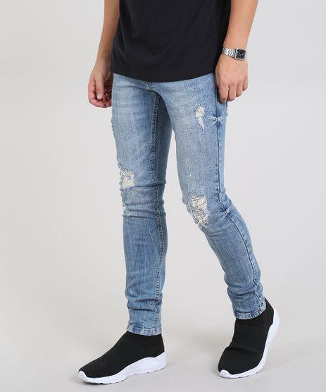 Calca-Jeans-Masculina-Skinny-Destroyed-Azul-Claro-9532886-Azul_Claro_1