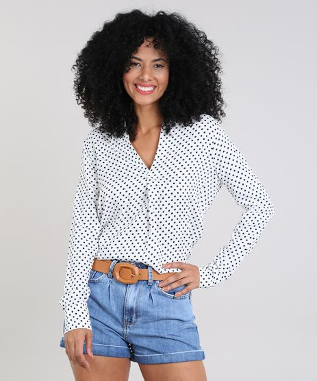 0d4df3cc3e Camisa-Feminina-Estampada-de-Poa-Manga-Longa-Decote-