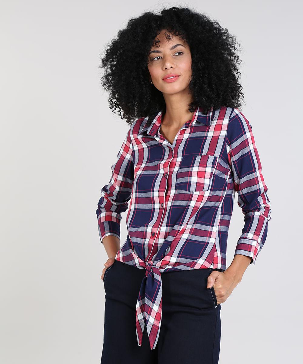 93e280660 Camisa Feminina Estampada Xadrez com Nó Manga Longa Azul Marinho - cea