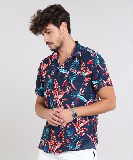 Camisa-Masculina-Estampada-Floral-com-Bolso-Manga-Curta-Azul-Marinho-9525307-Azul_Marinho_1