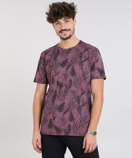 Camiseta-Masculina-Estampada-Folhagem-Manga-Curta-Gola-Careca-Vinho-9572798-Vinho_1