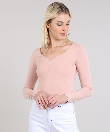 315fe3a4851f Blusa Feminina Básica Decote V Com Franzido Rosê | Menor preço com cupom