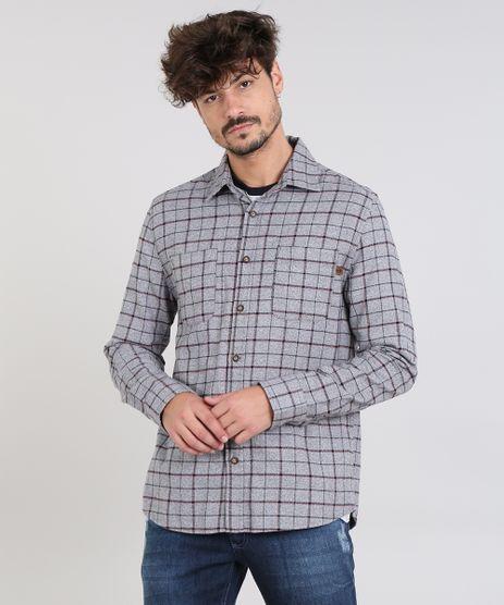 Camisa-Masculina-Estampada-Xadrez-com-Bolsos-em-Flanela-Manga-Longa-Cinza-Mescla-9365240-Cinza_Mescla_1