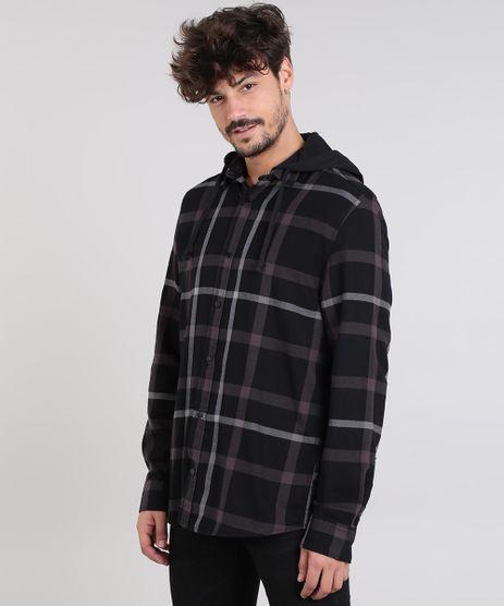 Camisa-Masculina-Estampada-Xadrez-em-Flanela-com-Capuz-Removivel-Manga-Longa-Preta-9383068-Preto_1
