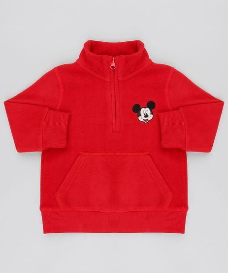 Blusao-Infantil-Mickey-em-Fleece-com-Meio-Ziper-Vermelho-9337040-Vermelho_1
