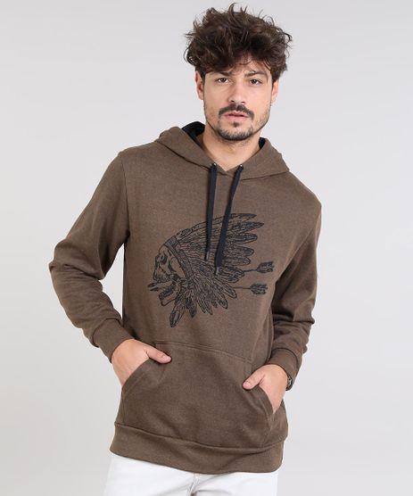 Blusao-Masculino-Indio-com-Capuz-e-Bolso-em-Moletom-Marrom-9487431-Marrom_1