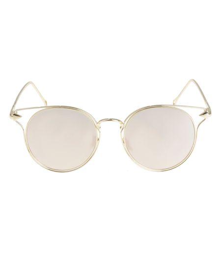 Óculos de Sol Redondo Feminino Oneself Dourado - ceacollections 11dbc54422