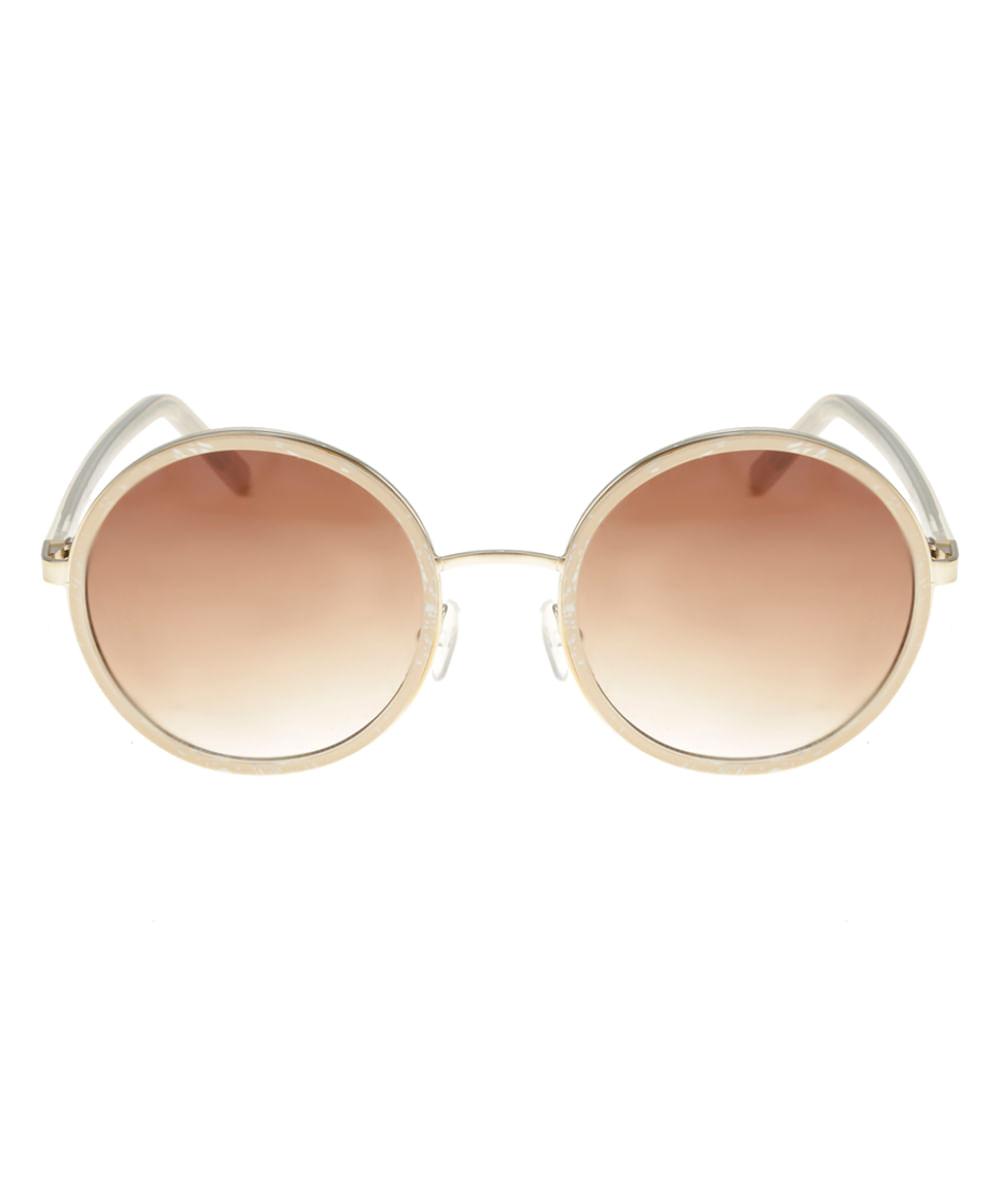 1f3fcba738 Óculos de Sol Redondo Feminino Oneself BEGE - ceacollections