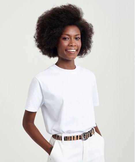 a576a38bb6 T-shirt Feminina Mindset Gola Larga Manga Curta Branca - cea
